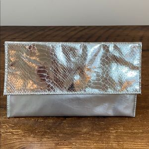 Saks Fifth Avenue Silver Clutch Evening Purse New